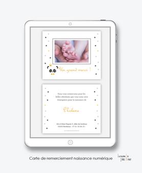 Carte de remerciements naissance garçon numérique-carte de remerciements garçon électronique-fichier Pdf-panda couronne avec noeud papillon -à imprimer soi même-A envoyer via les réseaux sociaux whatsapp-messenger-facebook-mms et mail