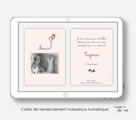 carte de remerciements naissance fille numérique-électronique-pdf- vélo champêtre-électronique-pdf-à imprimer soi-mêmecarte de remerciement digital à envoyer par mail, mms et réseau sociaux