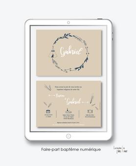 faire-part baptême  numérique-faire part baptême digital-faire part numérique-pdf imprimable-pdf numérique-faire part connecté-couronne kraft-tipi-faire part à imprimer soi-même-faire-part à envoyer par sms ou mms - faire-part à envoyer par mail