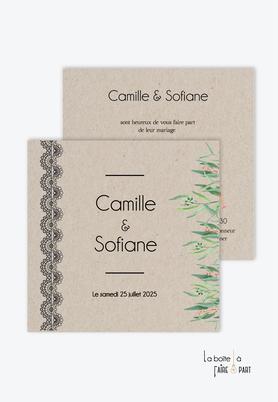 Faire-part mariage -dentelle -végétal-kraft-pictogramme-chic-bohème-eucalyptus