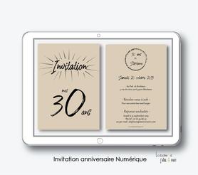 Invitation anniversaire homme numérique-Invitation électronique-Invitation numérique-imprimable-pdf numérique-Invitation connecté-Invitation anniversaire à envoyer par mms-par mail-réseaux sociaux-whatsapp-facebook-invitation kraft