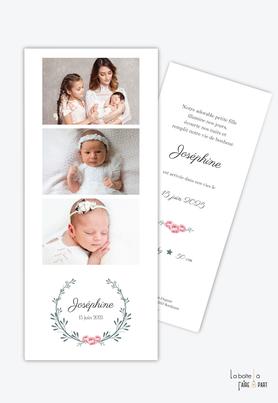 faire part naissance fille-couronne chic-fleurs- rose -classique -etoiles-3 photos-multiphoto-photo-format marque page-