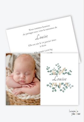 faire part naissance fille moderne-pas cher-multiple photo-eucalyptus-champêtre-pampas-bouquet d'eucalyptus