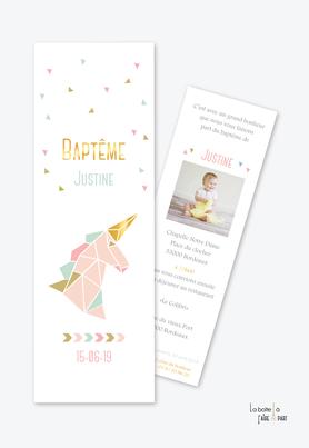 faire part baptême fille origami licorne doré rose,vert et doré-format marque page
