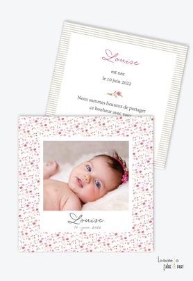 faire part naissance fille liberty - format carré-motif fleurs-photomaton-rayure-belle photo