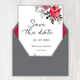 Save the date mariage gif animé- Save the date mariage virtuel-Save the date mariage digital-Save the date mariage numérique animé-électronique-à envoyer via les réseaux sociaux-whatsapp-facebook-messenger-mms-Bouquet champêtre-fleurs-fougère