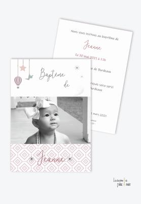 faire part baptême fille tendance et pas cher-animal-oiseau-Etoiles et petit oiseau-motif retro-motif rose,blanc-montgolfière-grande photo-