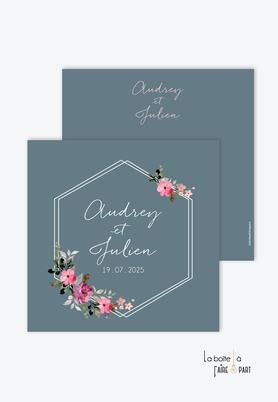 -Faire-part mariage-Couronne héxagonale-bouquet de fleurs - végétal-format carré