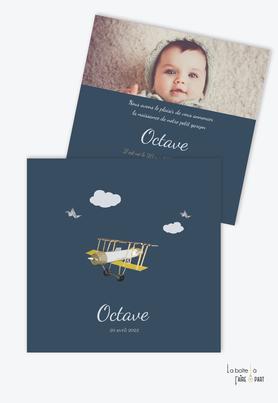 faire part naissance garçon-format carré-petit avion-vintage-nuages-oiseaux-ancien-bleu pétrol-