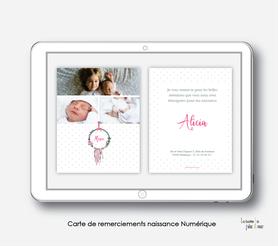 carte de remerciements naissance fille numérique-carte de remerciement électronique -pdf imprimable-pdf numérique-faire part connecté- attrape reves fleuri-à imprimer soi-même-carte de remerciement naissance à envoyer par mail