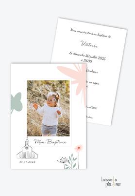 faire-part-baptême-fille-bouquet-de-fleurs-marguerite-bouquet-de-fleur-champêtre-eglise-religieux-polaroid