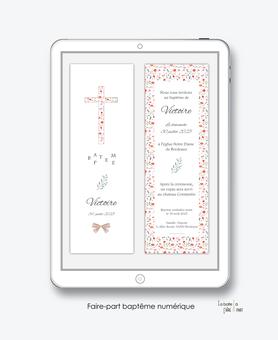 faire-part baptême fille numérique-électronique-pdf-arc en ciel-etoile- à imprimer-croix en liberty-noeud-religieux-eglise--format marque page-reseau sociaux