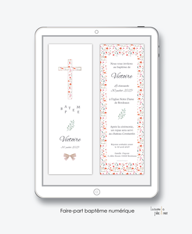 faire-part baptême fille numérique-faire-part baptême digital-électronique-pdf-à imprimer-croix en liberty-noeud-religieux-eglise--format marque page-reseaux sociaux-mms-whatsapp-Messenger