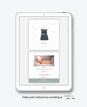 faire-part naissance fille numérique-faire part naissance digital-faire-part digital- robe col claudine -noeud-oiseau-faire part à imprimer-faire-part à envoyer par sms-mms-par mail-réseaux sociaux-whatsapp-facebook-via smartphone