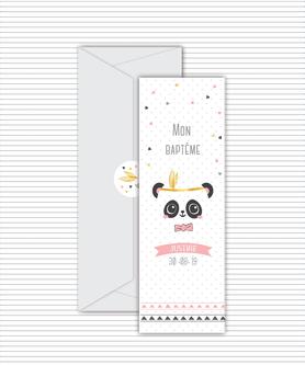 faire part bapteme fille numérique animé-Faire-part baptême digital-électronique-fichier Pdf-envoyer via les reseaux sociaux-whatsapp-facebook-messenger-Panda plume-noeud papillon-coeur