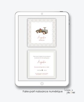 faire-part naissance garçon  numérique-faire part naissance digital-faire part numérique-pdf imprimable-pdf numérique-faire part connecté-voiture vintage-A imprimer-faire-part à envoyer par sms - faire-part à envoyer par mail-vintage-réseaux sociau
