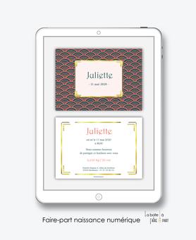 faire-part naissance fille numérique-faire-part naissance fille électronique-fichier pdf -motif vintage -à imprimer soi même-à envoyer par mail -à envoyer par mms-sms-réseaux sociaux