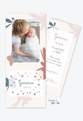 faire part naissance fille-motifs abstrait-motif coloré-motif terrazzo-photo-format marque page-motifs géométrique-granite