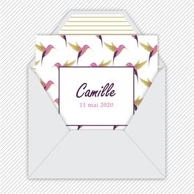 faire-part naissance fille numérique-faire part naissance digital-faire-part digital-Format carré-colibris rose-oiseaux-à imprimer-à envoyer par mail -à envoyer par mms-sms-réseaux sociaux