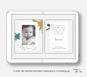 carte de remerciements garçon numérique-électronique-pdf-motif abstrait- motif terrazzo-électronique-A envoyer via les réseaux sociaux whatsapp-messenger-facebook-mms et mail