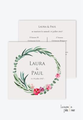 Faire-part mariage-romantique-format carré- eucalyptus-fleurs-pivoine-couronne végétale-champêtre