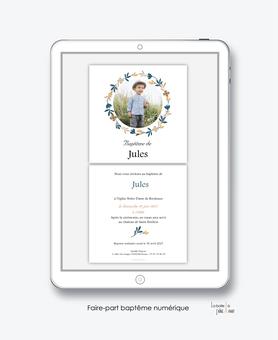 faire-part baptême numérique-faire part électronique-faire part numérique-imprimable-pdf numérique-faire part connecté-couronne de printemps-champêtre-photo-faire part à imprimer-faire-part à envoyer par sms-mms-par mail-réseaux sociaux-whatsapp-facebook