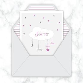 faire-part naissance fille numérique-faire part naissance digital-faire-part digital -nuage blanc-etoile-lune-à imprimer -à envoyer par mail -à envoyer par mms-sms-réseaux sociaux