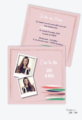 invitation anniversaire femme trait de gouache-rose-pinceau-polaroid