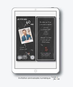 Invitation anniversaire homme numérique-Invitation électronique-Invitation numérique-imprimable-pdf numérique-Invitation connecté-Invitation anniversaire à envoyer par mms-par mail-réseaux sociaux-whatsapp-facebook-ardoise polaroid-moto
