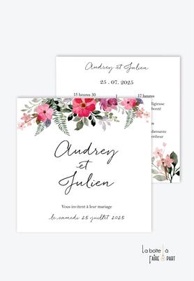 Faire-part mariage-champêtre-bohème-fleurs-pivoines-fougère-format carré-recto/verso ou plié en 2