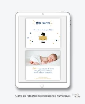 Carte de remerciements naissance garçon numérique-carte de remerciements garçon électronique-fichier Pdf-renard chapeau-à imprimer soi même-à envoyer par mail -à envoyer par sms