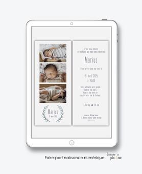 faire-part naissance garçon numérique -faire part numérique-imprimable-pdf numérique-faire part connecté-couronne en epi de blé-chic-photo-faire part à imprimer -faire-part à envoyer par sms-mms-par mail-réseaux sociaux-whatsapp-facebook