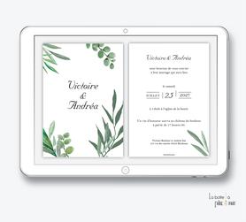faire-part mariage numérique-faire part mariage digital-faire part numérique-pdf numérique-faire part mariage electronique -faire-part à envoyer par mms-par mail-réseaux sociaux-whatsapp-facebook-messenger-eucalyptus-tendre végétal-feuilles-chic-champêtre