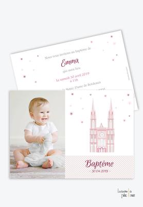 faire part baptême fille cathédrale Rose-Eglise-baptême religieux