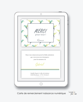 Carte de remerciements naissance garçon numérique-carte de remerciements garçon électronique-fichier Pdf-Colibris Vert- à imprimer soi même-à envoyer par mail -à envoyer par sms