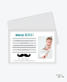 carte remerciement naissance garçon moustache noire et verte avec photo