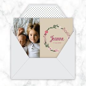 faire-part naissance fille numérique-faire part naissance digital-faire-part digital  -couronne de fleurs - kraft-pivoine-à imprimer-à envoyer par mail -à envoyer par mms-sms-réseaux sociaux