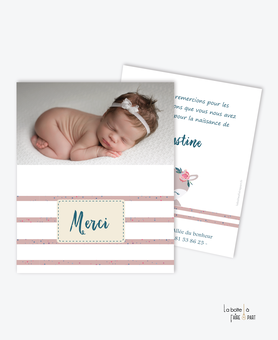 carte de remerciement naissance fille -renarde marine-tendance-moderne-pas cher- thème marin-rayure-animal-fleurs. Rose et blanc