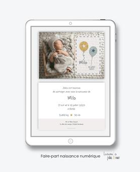faire-part naissance garçon numérique-faire part électronique-faire part numérique-imprimable-pdf numérique-faire part connecté-ballons-etoiles-photo-faire part à imprimer -faire-part à envoyer par sms-mms-par mail-réseaux sociaux-whatsapp-facebook