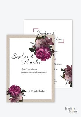 Faire-part mariage-bohème-pivoines colorées-kraft-rose -bouquet de fleurs