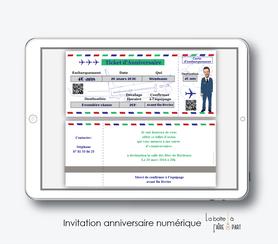 Carte invitation anniversaire homme-invitation anniversaire homme numérique-électronique- 20ans-30ans-40ans-50ans-60ans-à imprimer soi-même--faire-part à envoyer par sms-mms-par mail-réseaux sociaux-whatsapp-facebook-billet d'avion-stewart-avion