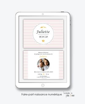 faire-part bapteme fille numérique-électronique-pdf-rayures-blé-étoiles-photo-faire-part naissance fille numérique-électronique-pdf-à imprimer soi-même-à envoyer par mms ou sms-réseaux sociaux