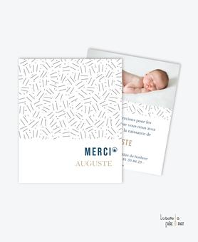 carte de remerciement naissance garçon-motif petits traits-tendance et pas cher-couleur noir et blanc avec points camel-esprit pantone-avec photo-motif graphique