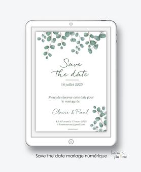 Save the date mariage numérique-Save the date mariage digital-Save the date numérique-pdf numérique-Save the date mariage electronique -Save the date à envoyer par mms-par mail-réseaux sociaux-whatsapp-facebook-messenger-eucalyptus-forêt-champêtre