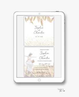 faire-part mariage numérique-faire part mariage digital-faire part numérique-pdf numérique-faire part mariage electronique -faire-part à envoyer par mms-par mail-réseaux sociaux-whatsapp-facebook-messenger-pampas-nature-paillettes-bohème-champêtre-photo