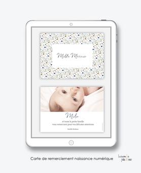 carte de remerciement naissance garçon numérique-remerciements naissance électronique-remerciements numérique-pdf imprimable-pdf numérique-remerciement connecté-liberty-fleurs couleur vert et bleu--carte de remerciement  à imprimer -