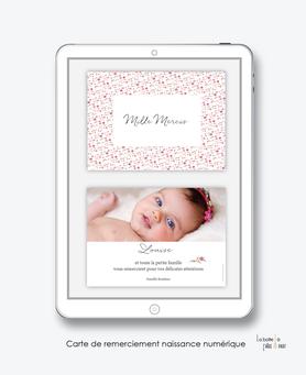carte de remerciement naissance numérique-remerciements naissance électronique-remerciements numérique-pdf imprimable-pdf numérique-remerciement connecté-liberty-fleurs-carte de remerciement  à imprimer soi-même- carte de remerciement  à envoyer par sms