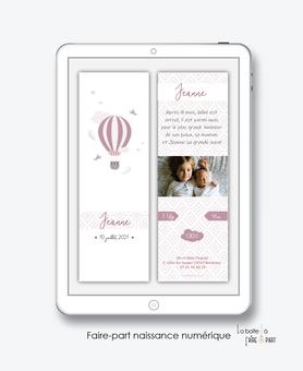 faire-part naissance fille numérique-faire part naissance digital-faire-part digital-pdf numérique-faire part connecté-montgolfière-plume-oiseau-nuage-A envoyer par sms-mms-faire-part à envoyer par mail-réseaux sociaux-whatsapp-messenger-via smartphone