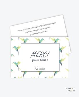 carte remerciement naissance garçon colibris vert et jaune- jungle-oiseaux