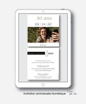 Invitation anniversaire femme numérique-Invitation électronique-Invitation digitale-imprimable-pdf numérique-Invitation connecté-Invitation anniversaire à envoyer par mms-par mail-réseaux sociaux-whatsapp-facebook-photo-noir et blanc